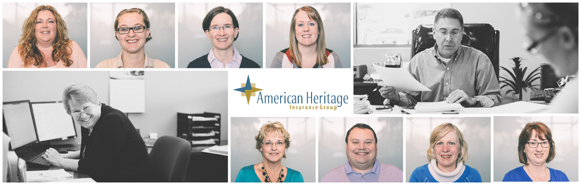 About, American Heritage Insurance Group, Team, People Working, Phone, Desk, Papers, Logo